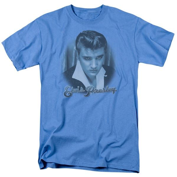 Elvis/Blue Suede Fade Short Sleeve Adult T-Shirt 18/1 in Carolina Blue