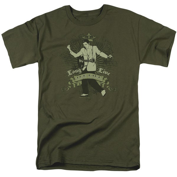 Elvis/Long Live The King Short Sleeve Adult T-Shirt 18/1 in Military Green