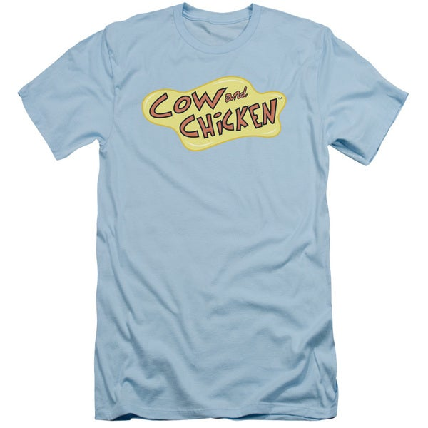 Cow and Chicken/Cow Chicken Logo Short Sleeve Adult T-Shirt 30/1 in Light Blue