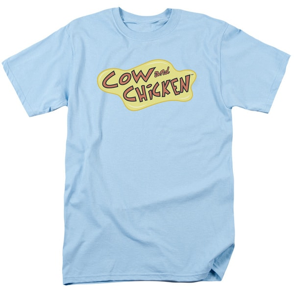 Cow and Chicken/Cow Chicken Logo Short Sleeve Adult T-Shirt 18/1 in Light Blue