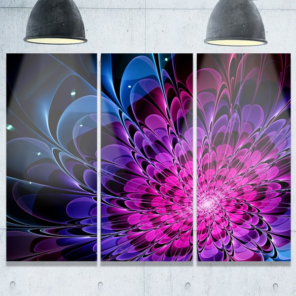 Fractal Purple Rose Flower - Floral Glossy Metal Wall Art - 36Wx28H