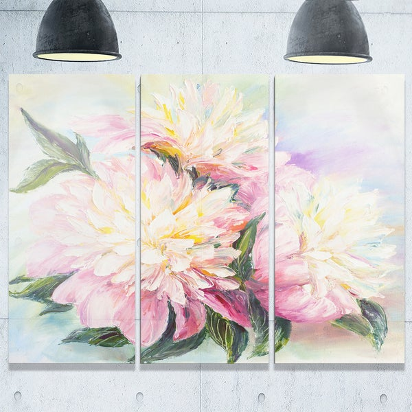 Blooming Pink Peonies - Floral Glossy Metal Wall Art - 36Wx28H 20680839