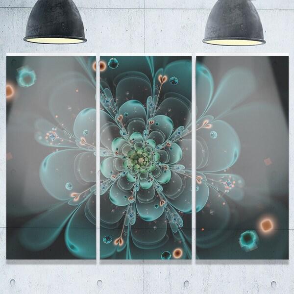 Full Bloom Fractal Flower in Blue - Flower Large Metal Wall Art - 36Wx28H 20680940