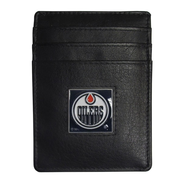 NHL Edmonton Oilers Sports Team Logo Leather Money Clip Cardholder