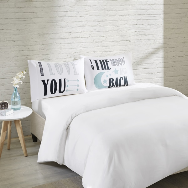 HipStyle I Love You White Cotton Printed Pillowcase Pair 20683353
