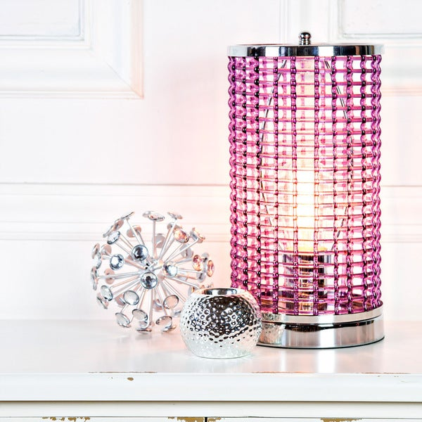 Purple Acrylic Caged Uplight Accent Lamp with Chrome Base