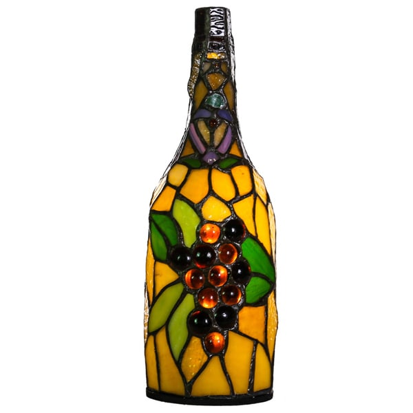 River of Goods Cordless Multicolor Stained-glass 12.5-inch High Battery-operated Wine Bottle Accent Lamp