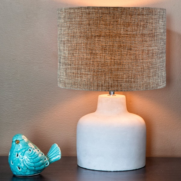 Modern Grey Fabric 17.75-inch High Table Lamp with Chic Stone Concrete Base