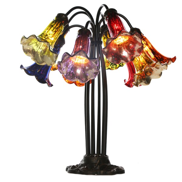 River of Glass Mercury Glass 10-light 21-inch-high Lily Downlight Rainbow Table Lamp 20685008
