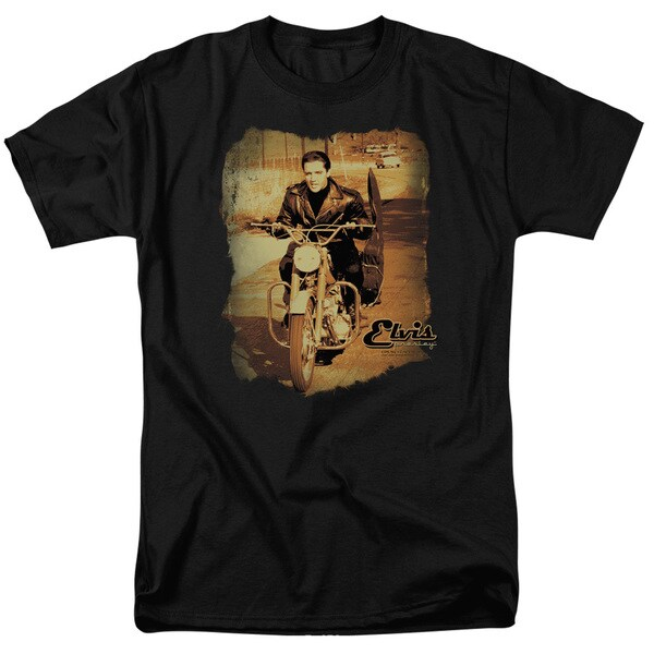 Elvis/Hit The Road Short Sleeve Adult T-Shirt 18/1 in Black
