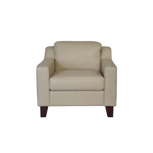 Cora Top Grain Beige Leather Chair