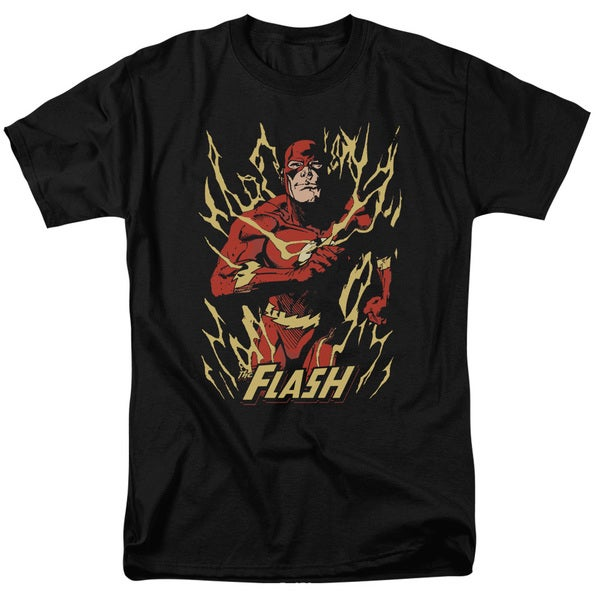JLA/Flash Flare Short Sleeve Adult T-Shirt 18/1 in Black