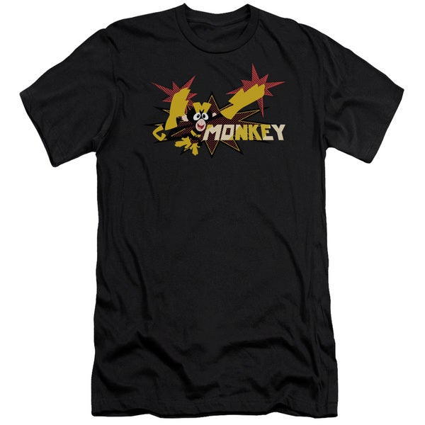 Dexters's Laboratory/Monkey Short Sleeve Adult T-Shirt 30/1 in Black
