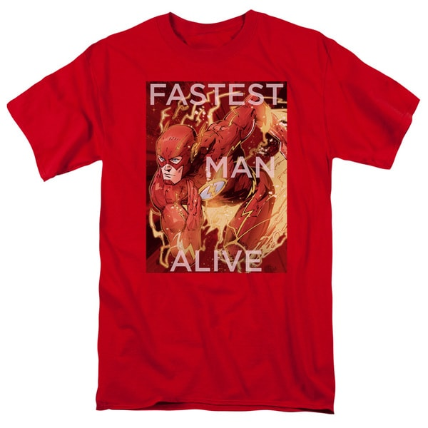 JLA/Fastest Man Alive Short Sleeve Adult T-Shirt 18/1 in Red