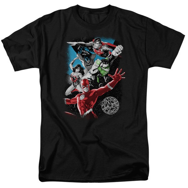 JLA/Galactic Attack Short Sleeve Adult T-Shirt 18/1 in Black
