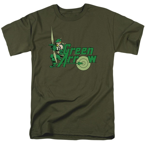 DC/Green Arrow Short Sleeve Adult T-Shirt 18/1 in Military Green