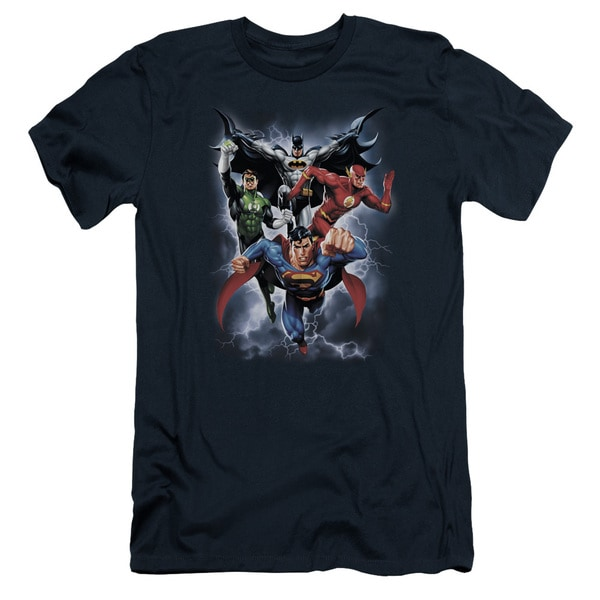 JLA/The Coming Storm Short Sleeve Adult T-Shirt 30/1 in Navy