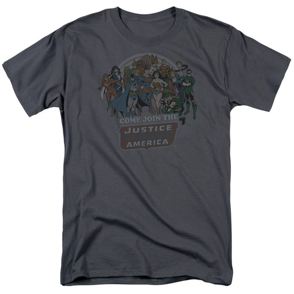 DC/Join The Justice League Short Sleeve Adult T-Shirt 18/1 in Charcoal