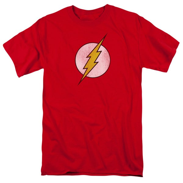 DC/Flash Logo Distressed Short Sleeve Adult T-Shirt 18/1 in Red