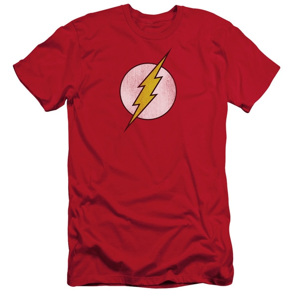 DC/Flash Logo Distressed Short Sleeve Adult T-Shirt 30/1 in Red