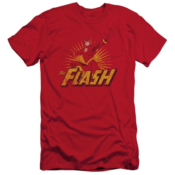 JLA/Flash Rough Distress Short Sleeve Adult T-Shirt 30/1 in Red