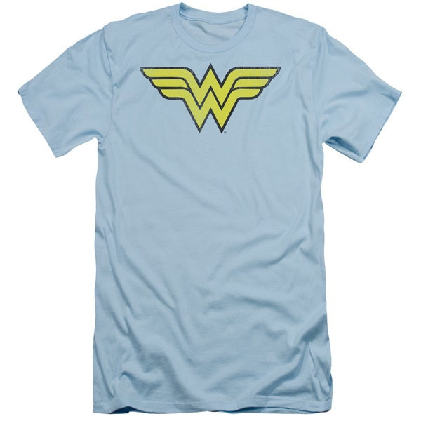 DC/Ww Logo Distressed Short Sleeve Adult T-Shirt 30/1 in Light Blue