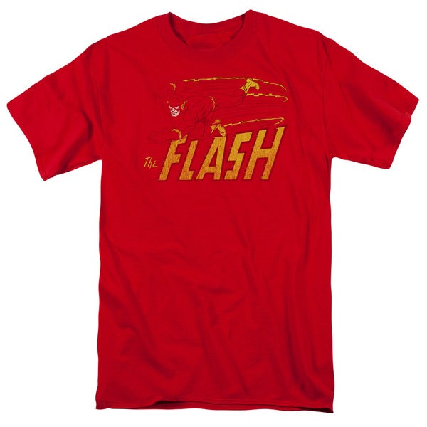 DC/Flash Speed Distressed Short Sleeve Adult T-Shirt 18/1 in Red