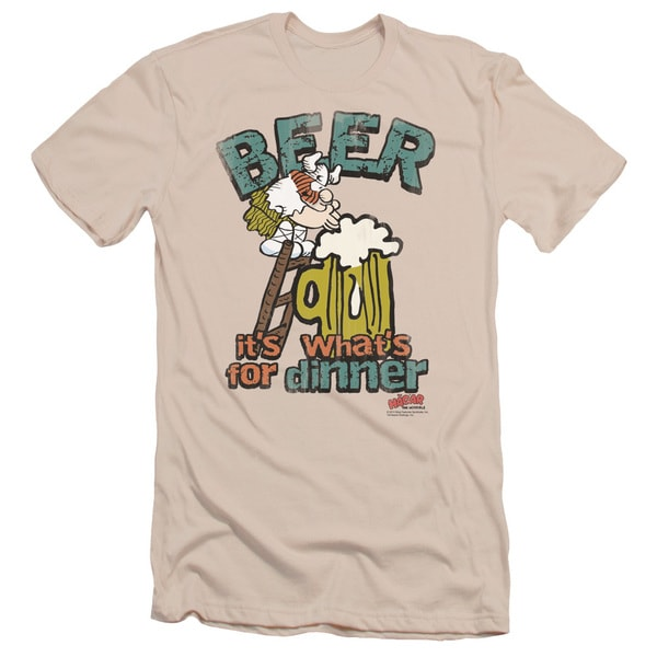Hagar The Horrible/Beer, Dinner Short Sleeve Adult T-Shirt 30/1 in Cream