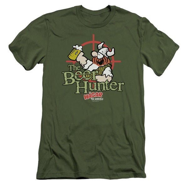 Hagar The Horrible/Beer Hunter Short Sleeve Adult T-Shirt 30/1 in Military Green