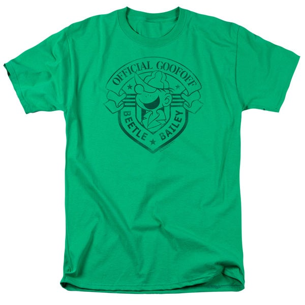 Beetle Bailey/Official Badge Short Sleeve Adult T-Shirt 18/1 in Kelly Green