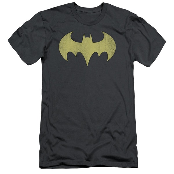 DC/Batgirl Logo Distressed Short Sleeve Adult T-Shirt 30/1 in Charcoal