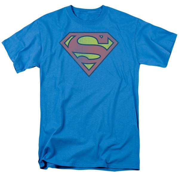 DC/Retro Supes Logo Distressed Short Sleeve Adult T-Shirt 18/1 in Turquoise