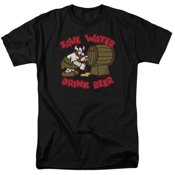 Hagar The Horrible/Save Water Drink Beer Short Sleeve Adult T-Shirt 18/1 in Black
