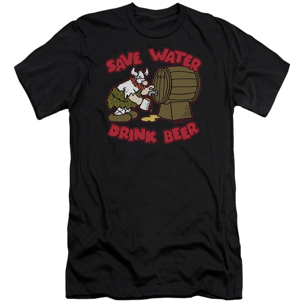 Hagar The Horrible/Save Water Drink Beer Short Sleeve Adult T-Shirt 30/1 in Black