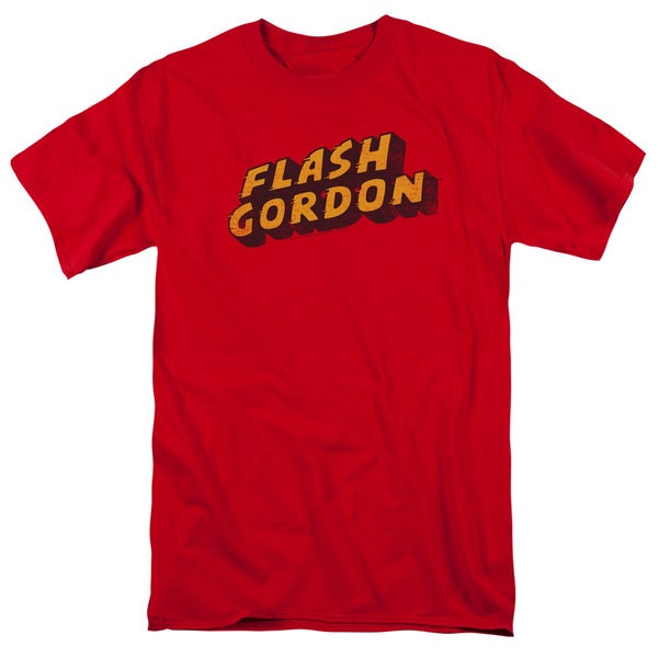 Flash Gordon/Logo Short Sleeve Adult T-Shirt 18/1 in Red