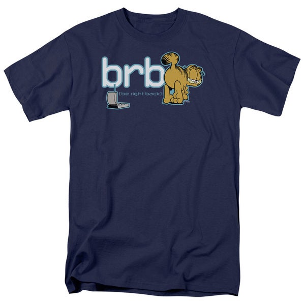 Garfield/Be Right Back Short Sleeve Adult T-Shirt 18/1 in Navy