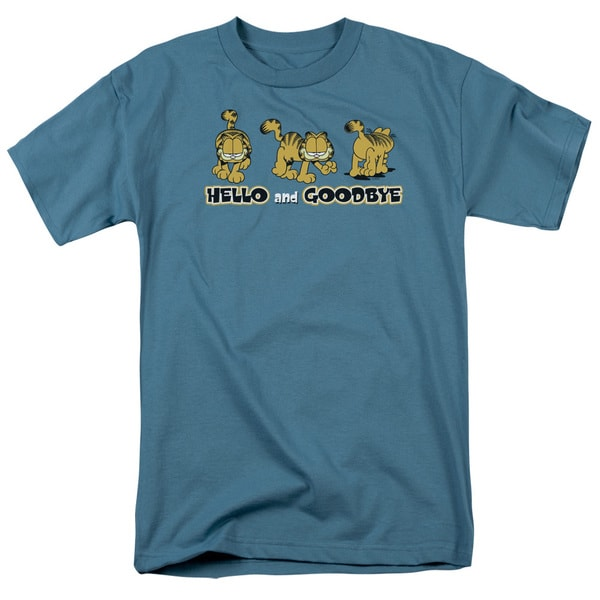 Garfield/Hello and Goodbye Short Sleeve Adult T-Shirt 18/1 in Slate