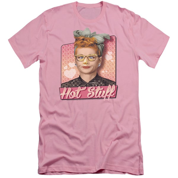 I Love Lucy/Hot Stuff Short Sleeve Adult T-Shirt 30/1 in Pink