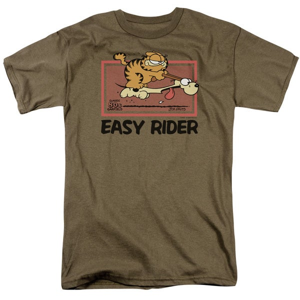 Garfield/Vintage Easy Rider Short Sleeve Adult T-Shirt 18/1 in Safari Green