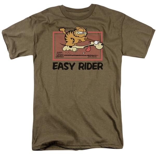 Garfield/Vintage Easy Rider Short Sleeve Adult T-Shirt 18/1 in Safari Green