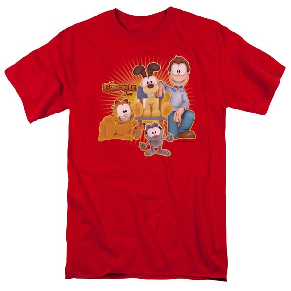 Garfield/Say Cheese Short Sleeve Adult T-Shirt 18/1 in Red
