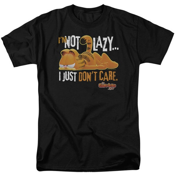 Garfield/Not Lazy Short Sleeve Adult T-Shirt 18/1 in Black