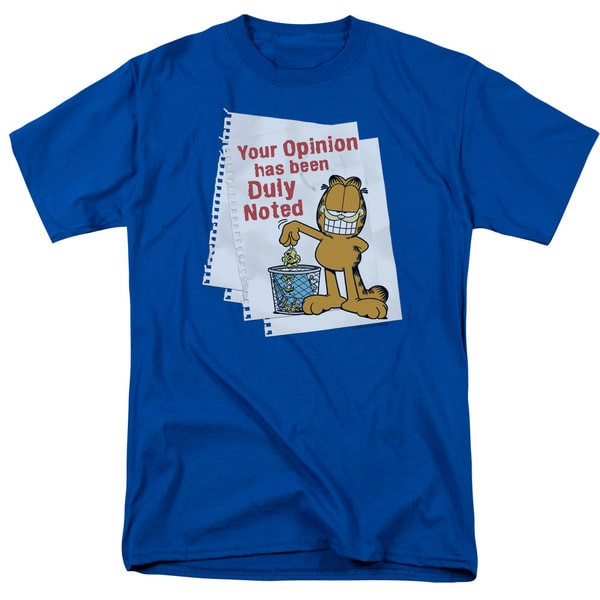 Garfield/Duly Noted Short Sleeve Adult T-Shirt 18/1 in Royal