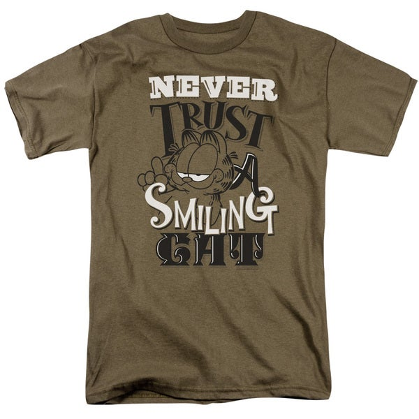 Garfield/Never Trust Short Sleeve Adult T-Shirt 18/1 in Safari Green