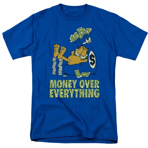 Garfield/Money Is Everything Short Sleeve Adult T-Shirt 18/1 in Royal