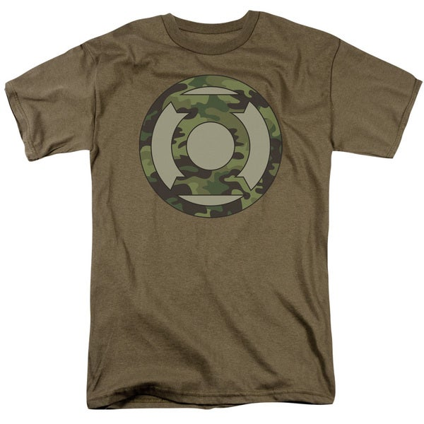 Green Lantern/Camo Logo Short Sleeve Adult T-Shirt 18/1 in Safari Green