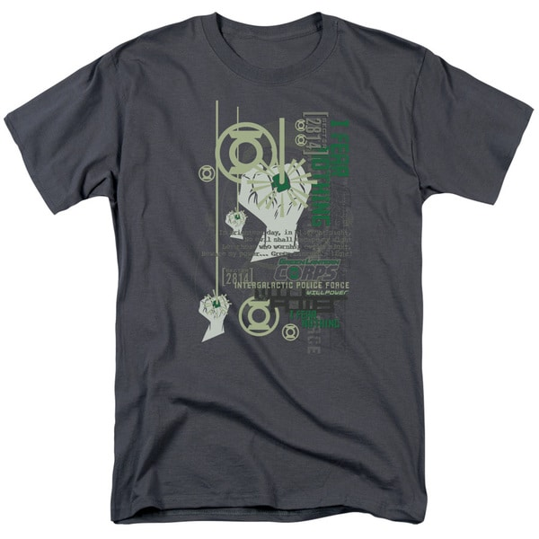 Green Lantern/Core Strength Short Sleeve Adult T-Shirt 18/1 in Charcoal