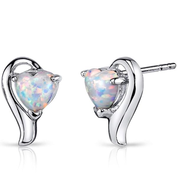 Oravo White Opal Sterling Silver 1.25ct Heart Helix Earrings