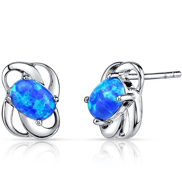 Oravo Sterling Silver 1ct Created Blue Opal Blossom Earrings
