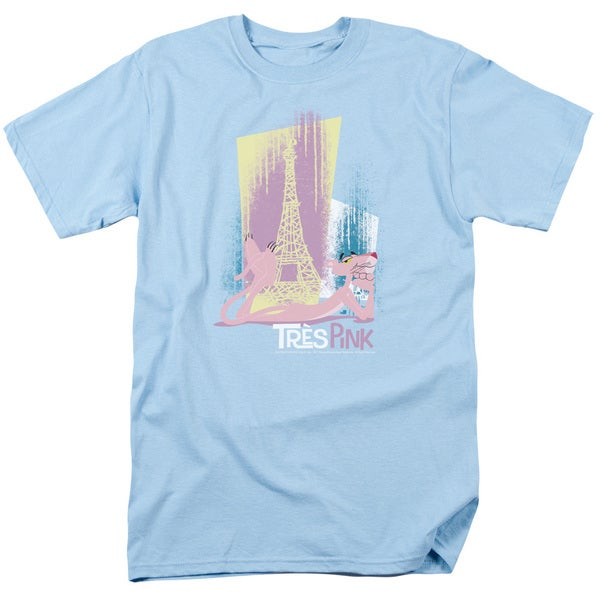 MGM/Pink Panther/Tres Pink Short Sleeve Adult T-Shirt 18/1 in Light Blue